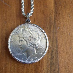 1923 Silver Peace Dollar Necklace